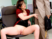 Jennifer White Bent Over The Office Chair & Boned!