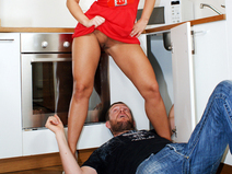 A peep under Marketa's dress drives the plumber wild  teen