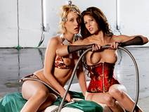 Kinky BDSM threesome in a futuristic dungeon
