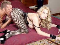 Her crotch-less fishnets make his cock rock-hard pornstar